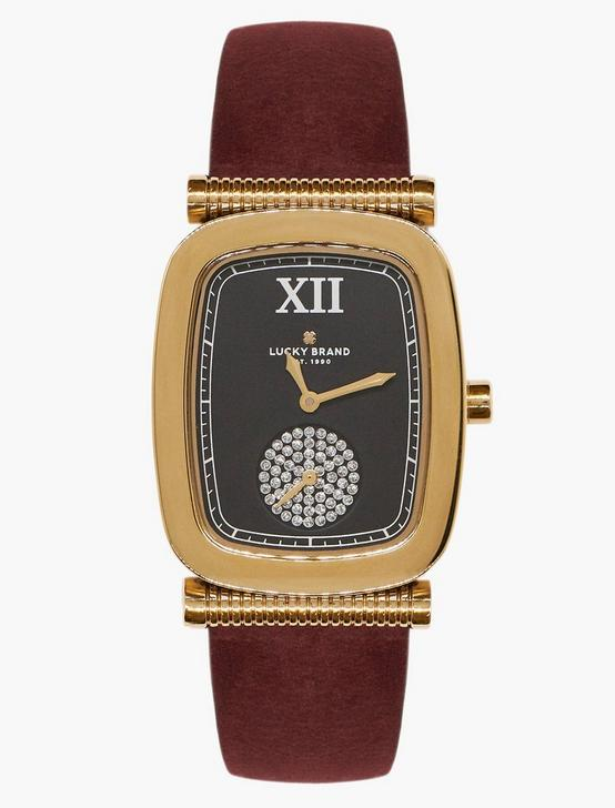 Laurel Berry Leather Watch, GOLD, productTileDesktop