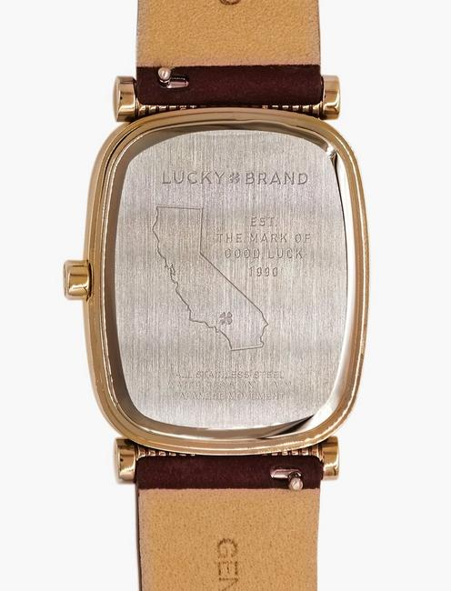 Laurel Berry Leather Watch, GOLD
