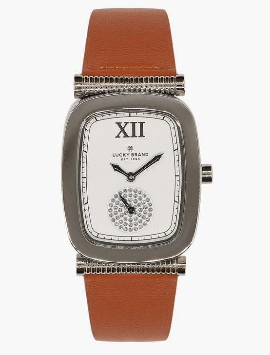 Laurel Tan Leather Watch, SILVER, productTileDesktop