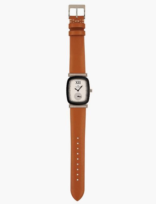 Laurel Tan Leather Watch, SILVER