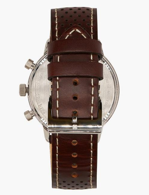 Fairfax Brown Perforated Watch, SILVER