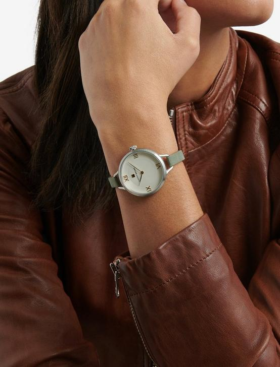 INDIO STERLING SILVER SUEDE WATCH, 36mm, SILVER, productTileDesktop