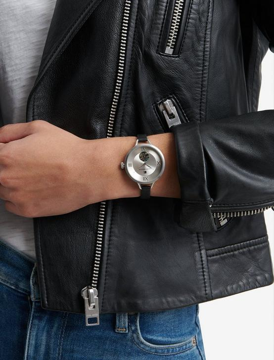 Indio Subeye Black Leather Watch, SILVER, productTileDesktop