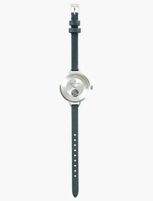 Indio Subeye Black Leather Watch, SILVER