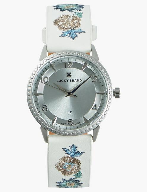 Torrey Embroidered Leather Watch, 34mm