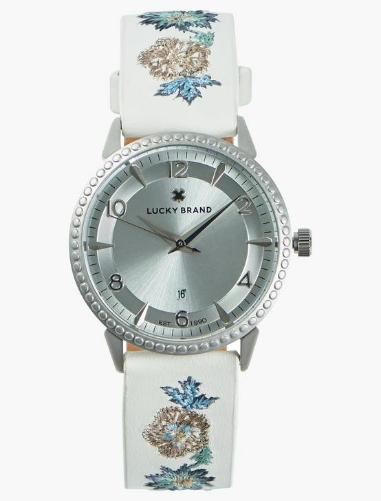 TORREY EMBROIDERED LEATHER WATCH, 34mm, SILVER, productTileDesktop