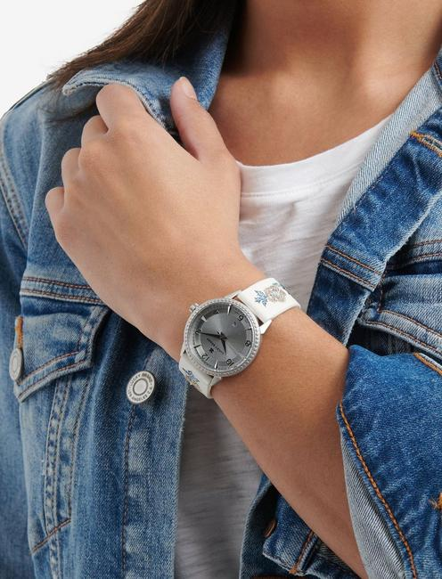 TORREY EMBROIDERED LEATHER WATCH, 34mm, SILVER