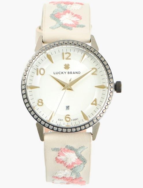 Torrey White Embroidered Floral Watch
