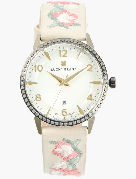Torrey White Embroidered Floral Watch, GOLD, productTileDesktop