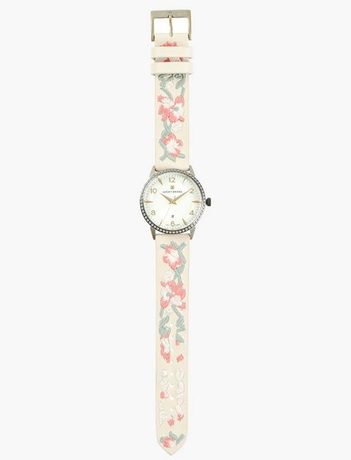 Torrey White Embroidered Floral Watch, GOLD