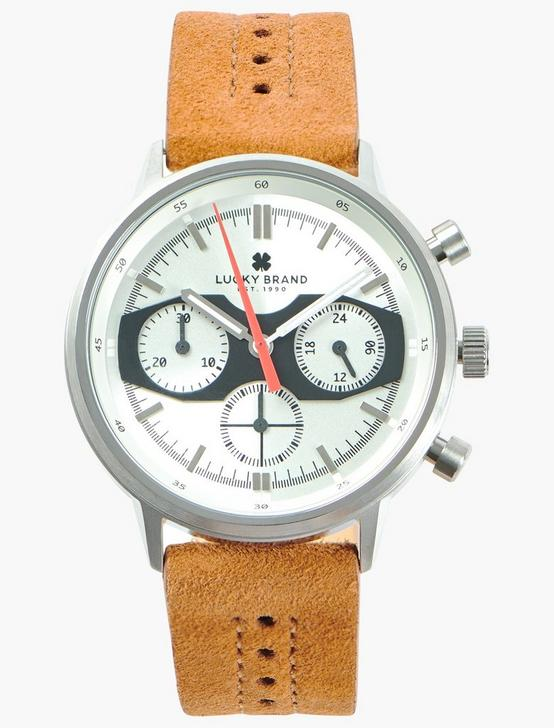 Fairfax Multi Tan Suede Watch, SILVER, productTileDesktop