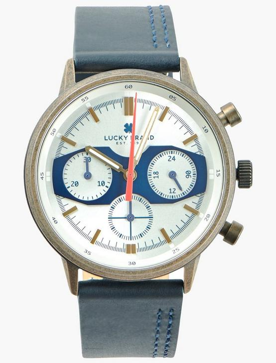 Fairfax Multi Navy Leather Watch, GOLD, productTileDesktop