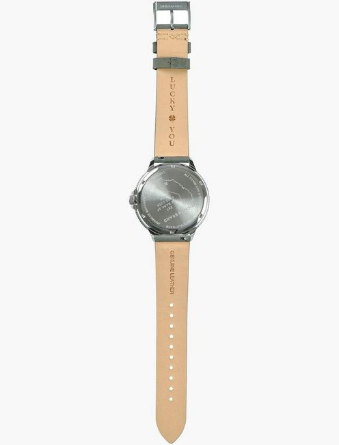 DILLON OLIVE SUEDE WATCH, 42mm, SILVER