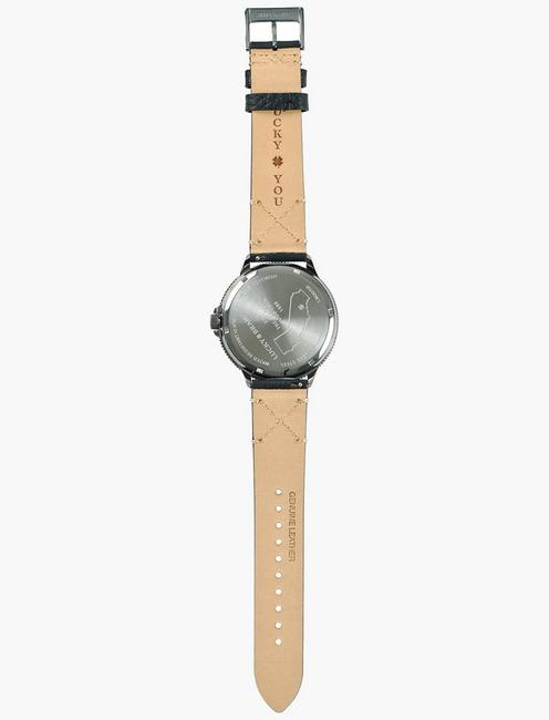 Dillion Charcoal Leather Embroidered Watch, SILVER