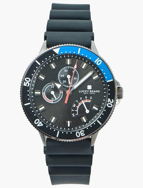 DILLON MULTI BLACK SILICONE WATCH, 42mm,