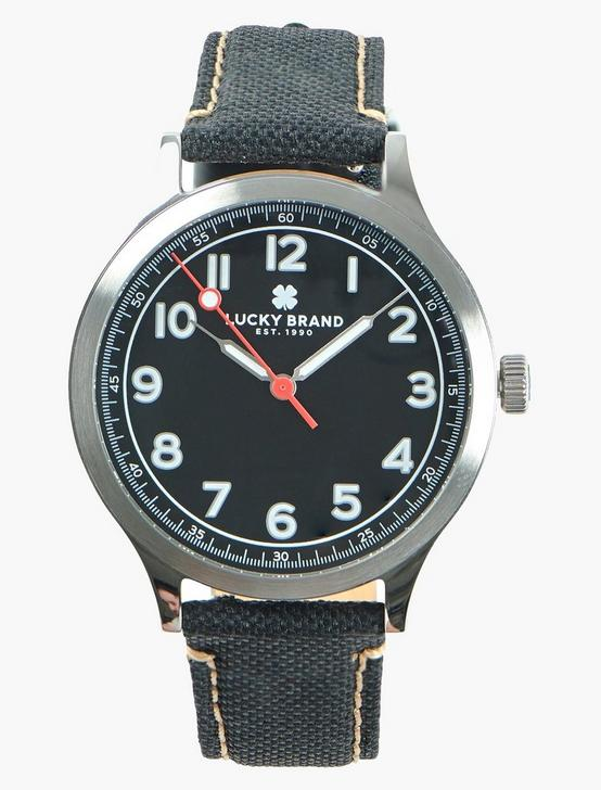 Jefferson Black Fabric Watch, SILVER, productTileDesktop