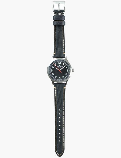 Jefferson Black Fabric Watch, SILVER