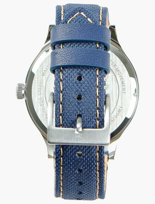 Jefferson Navy Fabric Watch, SILVER