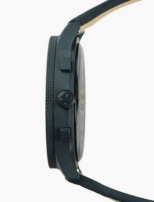 Rockpoint Multi-Functional Black Leather Watch, SILVER