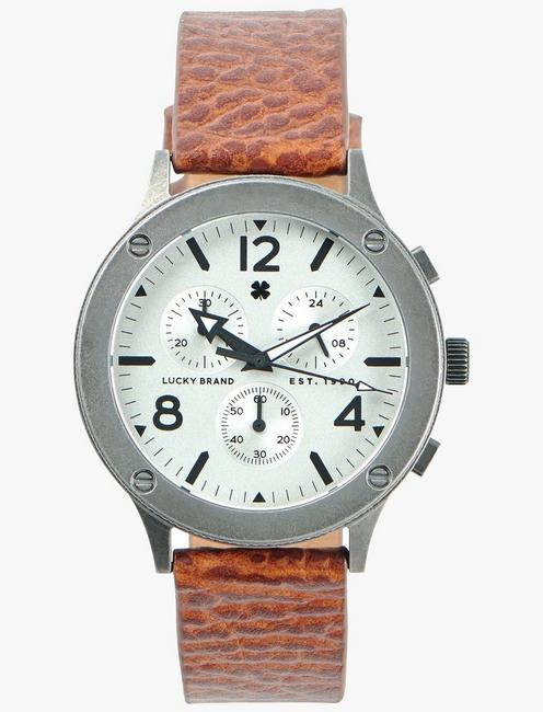 Rockpoint Multi-Functional Tan Leather Watch