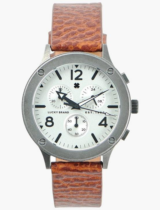 Rockpoint Multi-Functional Tan Leather Watch, SILVER, productTileDesktop