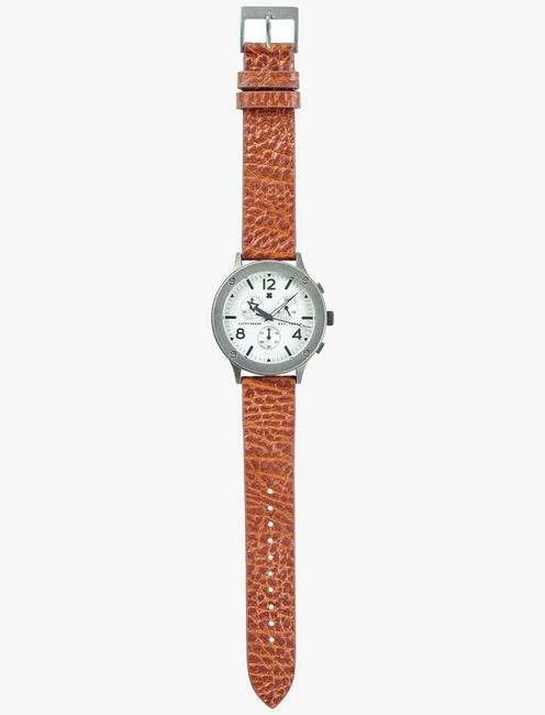 Rockpoint Multi-Functional Tan Leather Watch, SILVER