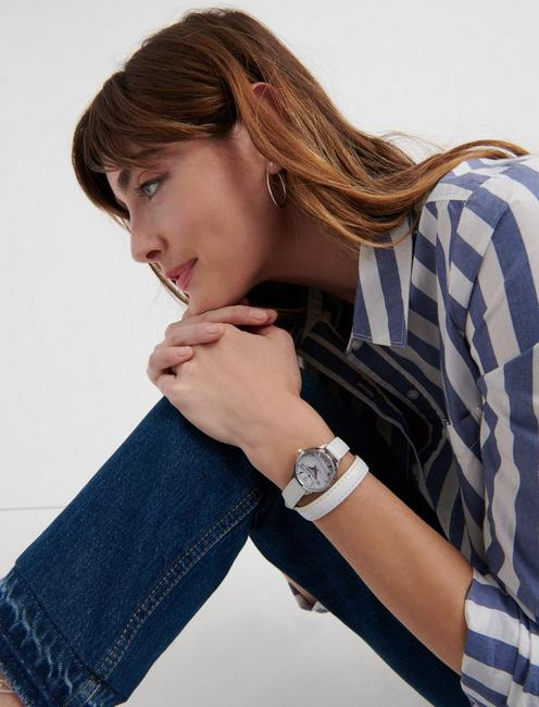 Torrey Mini Printed Jasper Wrap Watch, SILVER