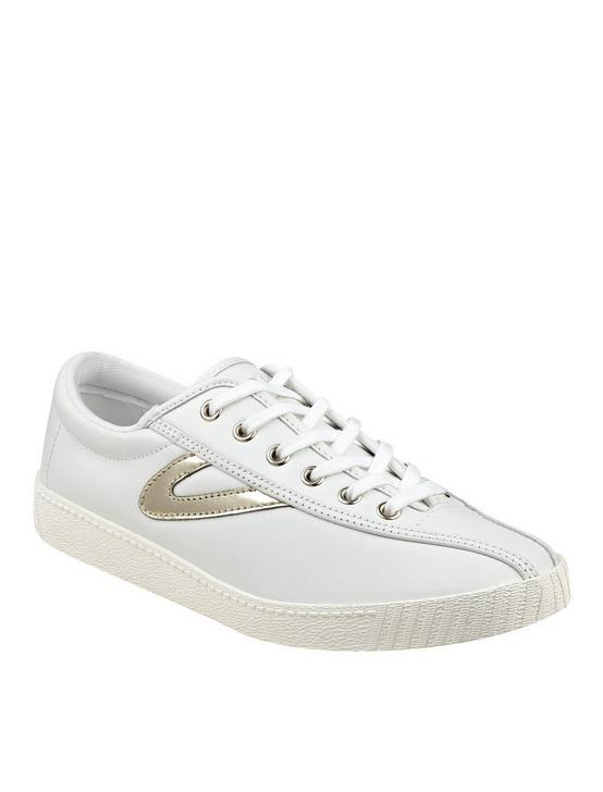 TRETORN NYLITE 2 PLUS LEATHER SNEAKER, WHITE/GOLD, productTileDesktop