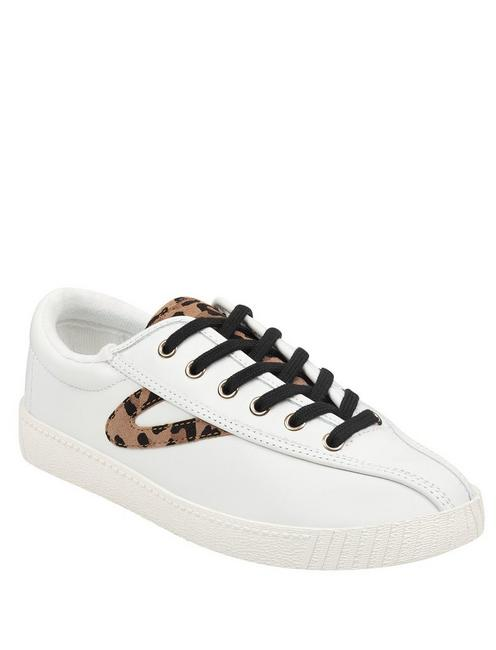 TRETORN NYLITE25P CHEETAH SUEDE SNEAKER, OPEN WHITE/NATURAL