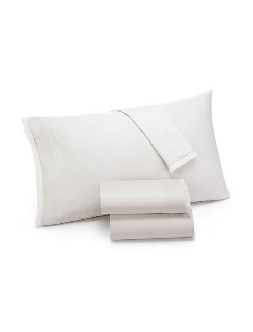 FRINGE WHITE KING PILLOWCASE SET, NATURAL