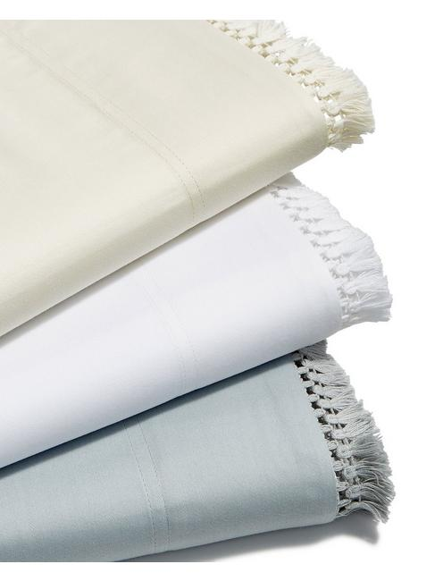 FRINGE WHITE QUEEN SHEET SET,