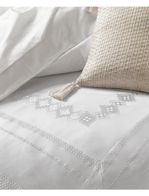 STITCHED DIAMOND FULL/QUEEN COMFORTER SET, BUFF