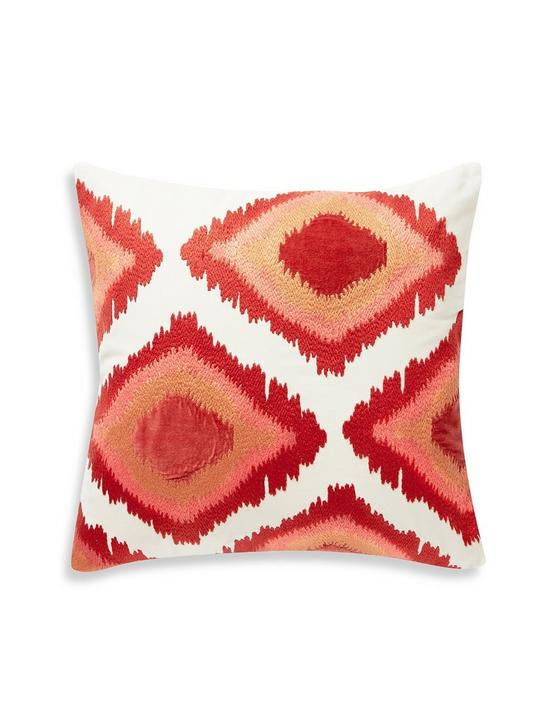 20X20 EMBROIDERED IKAT PILLOW, DARK ORANGE, productTileDesktop