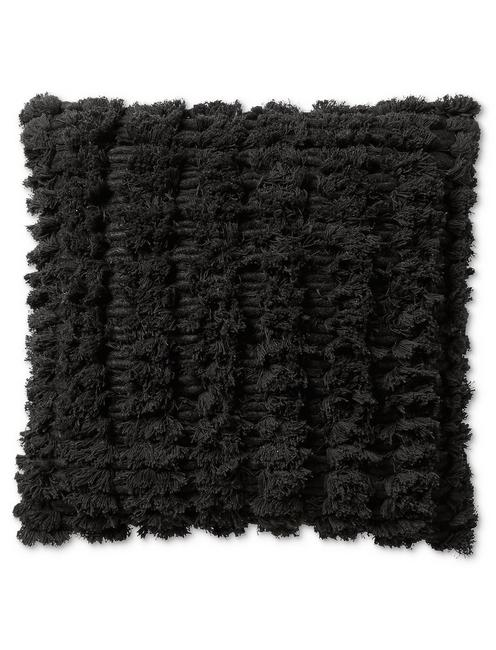 Lucky 18x18 Shaggy Decorative Black Pillow