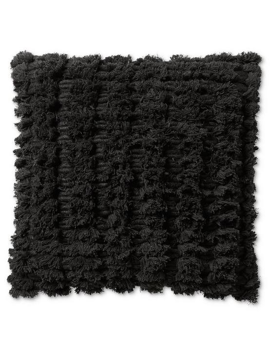 18X18 SHAGGY DECORATIVE BLACK PILLOW, BLACK, productTileDesktop