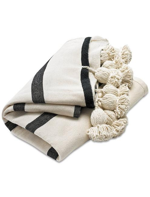 MOROCCAN POM THROW, NATURAL