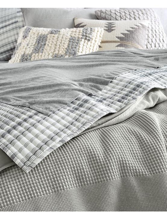WAFFLE STRIPE DUVET SET, MEDIUM DARK GREY, productTileDesktop