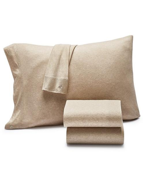 SMOKE JERSEY SHEET SET, DARK BEIGE