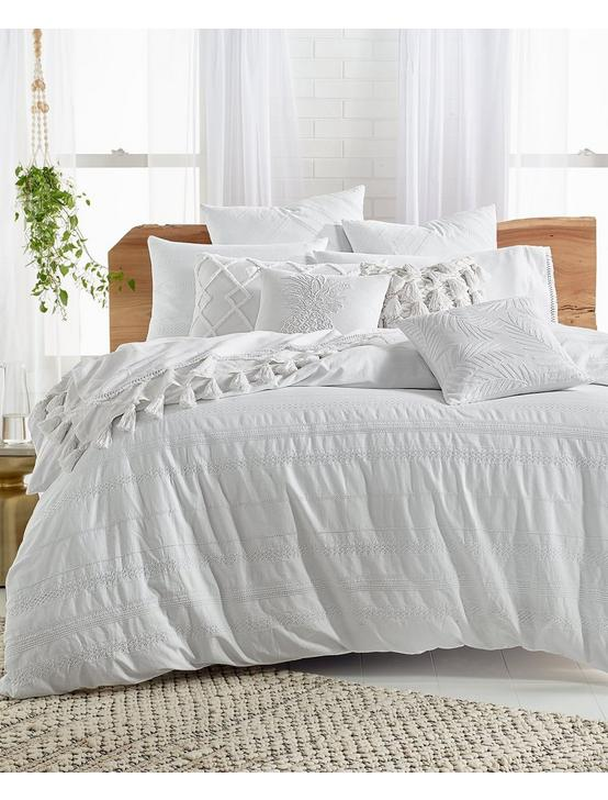 STRIPE EMBROIDERED DUVET SET, , productTileDesktop