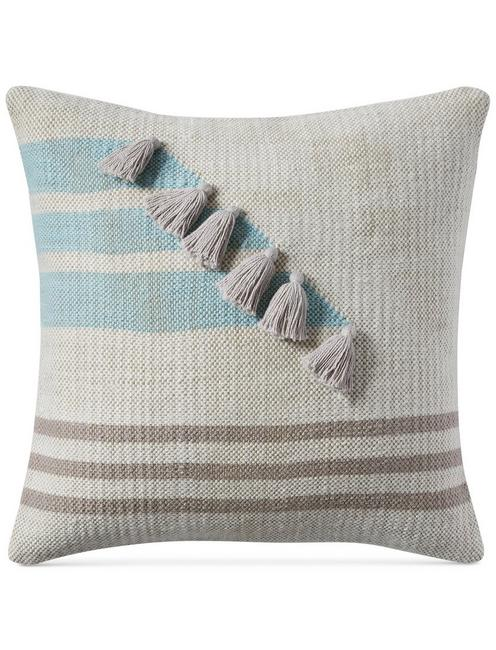 Lucky 18x18 Stripe Tassle Decorative Pillow