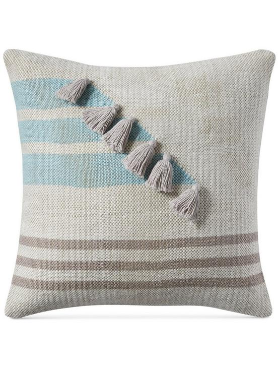 18X18 STRIPE TASSLE DECORATIVE PILLOW, RINSE, productTileDesktop