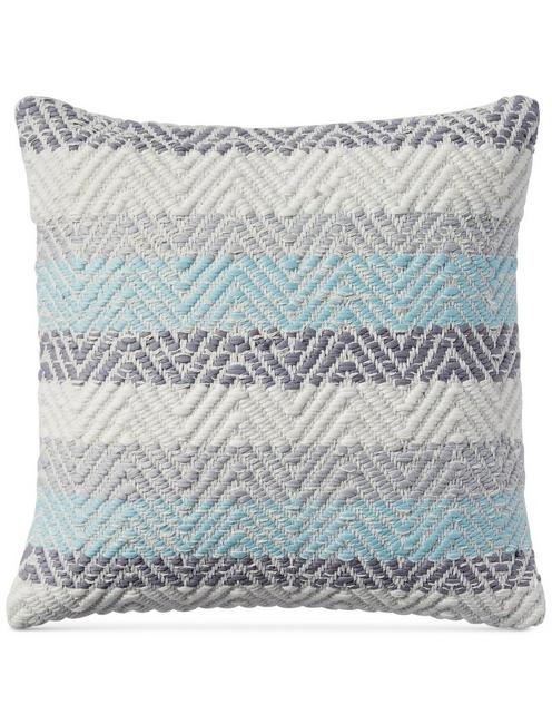 18X18 JERSEY CHEVRON DECORATIVE PILLOW, DARK GREY