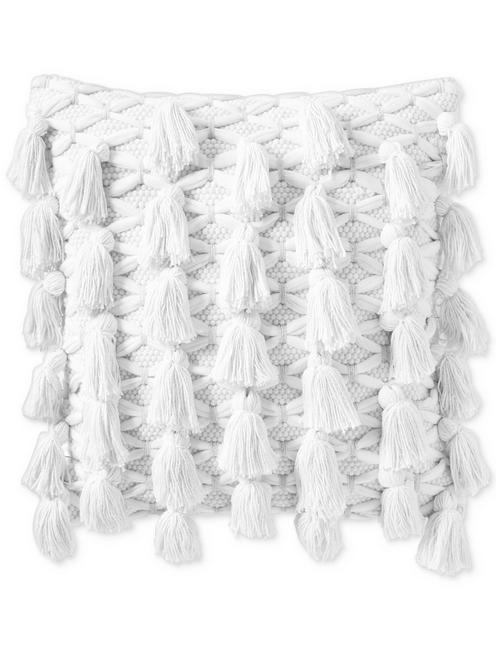 18X18 ALL TASSEL DECORATIVE PILLOW, NATURAL