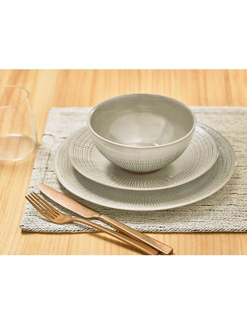 WOVEN 12PC DINNER SET, IVORY/TAN