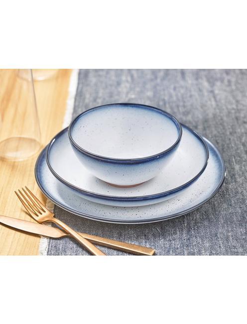 BLUE EDGE 12 PIECE DINNER SET, WHITE W/ BLUE EDGE