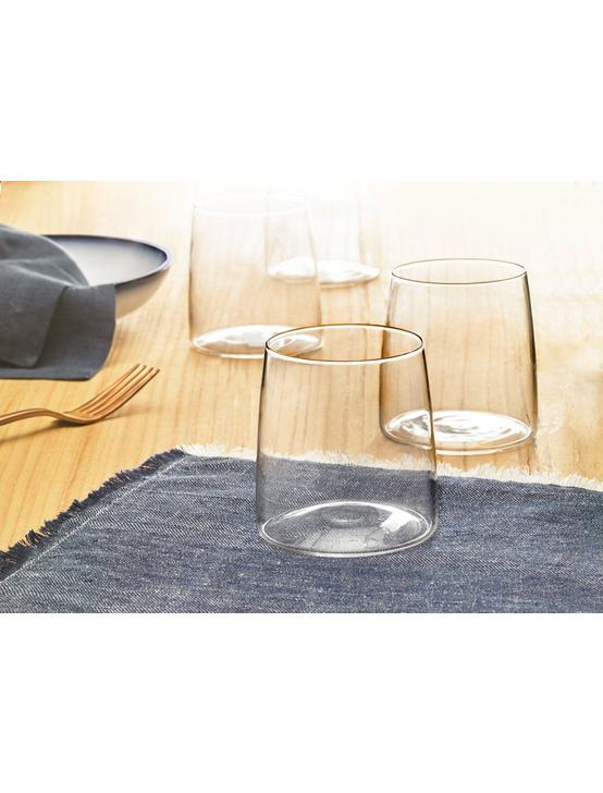 SET OF FOUR CLEAR GLASSES, CLEAR, productTileDesktop