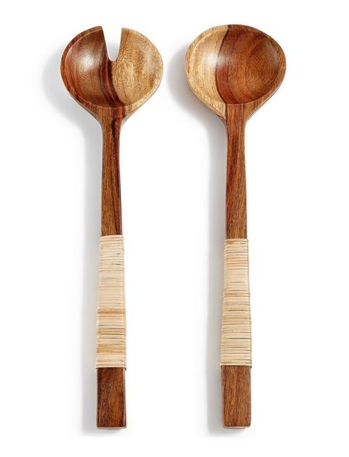 NATURAL SHEESHAM WOOD SALAD SERVERS, NATURAL WOOD