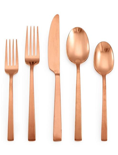 20 PIECE RUMBLE FINISH COPPER DINNER SET, COPPER