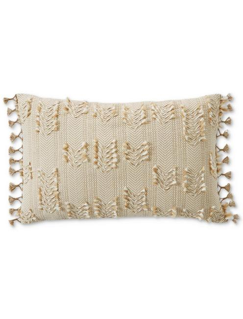 16X24 CLIP TIE DECORATIVE PILLOW, LIGHT BROWN