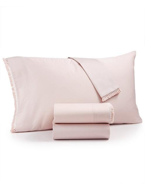 FRINGE BLUSH PILLOW CASE, DARK PINK
